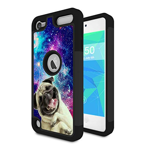 iPod Touch 6 Case,iPod Touch 5 Case,Spsun Dual Layer Hybrid Hard Protector Cover Anti-Drop TPU Bumper for Apple iPod Touch 6th/5th Generation,Cute Pug Dog On Galaxy