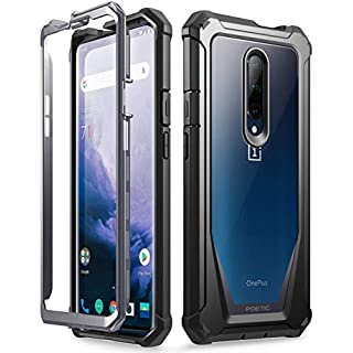 Poetic OnePlus 7 Pro Rugged Clear Case, Full-Body Hybrid Shockproof Bumper Cover, Built-in-Screen Protector, Guardian Series, Case for OnePlus 7 Pro (2019 Release), Black/Clear