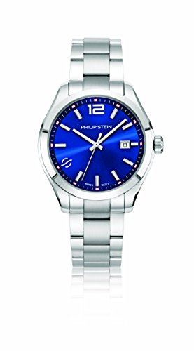 Philip Stein Men's 'Traveler' Swiss Quartz Stainless Steel Casual Watch, Color:Silver-Toned (Model: 92-CBL-SS)