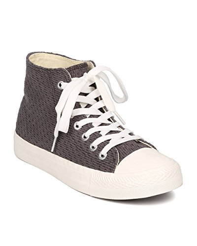 Women Crochet High Top Sneaker – Casual, School, Comfort – Capped Toe Sneaker – GE17 By Qupid – Charcoal (Size: 10)