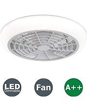 Plafondventilator Met Licht En Afstandsbediening, Onzichtbare Creatieve Mute Ventilator Met Instelbare Windsnelheid En Dimbare LED-plafondlamp (White-A)