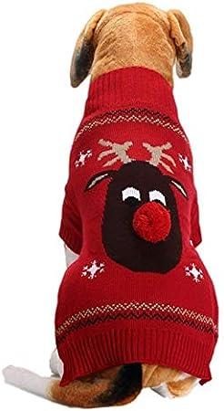 Ropa para Mascotas Navidad Disfraz De Punto De Perro O Gato Fiesta Traje,Ropa para Mascotas Abrigo Grueso Invierno Acolchado Caliente Chaleco para Clima Frío