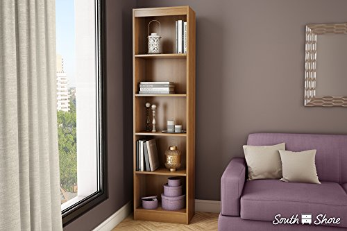 South Shore Axess Collection 5-Shelf Narrow Bookcase, Pure White