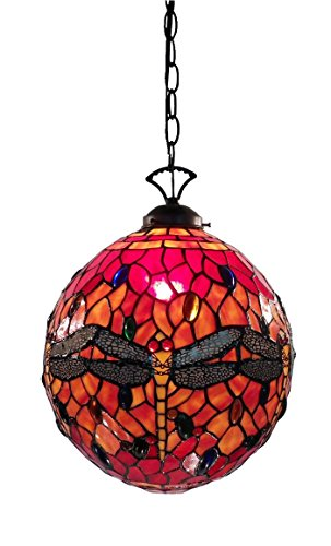 Whse of Tiffany NN13209A Globe Dragonfly Lamp - Red