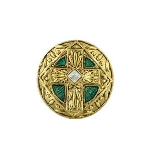 (The Vatican Library Collection Gold Tone w Green Enamel Cross Stretch Ring )