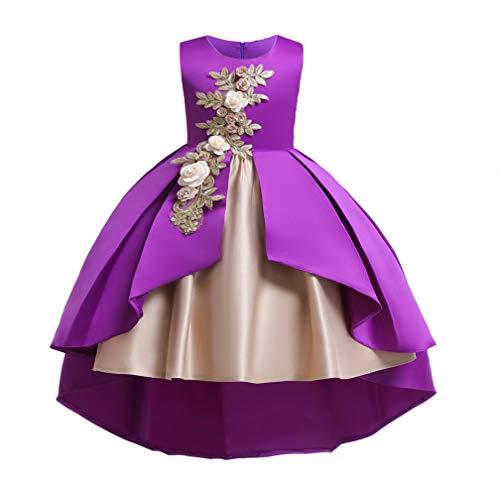 Flower Girls Costume Pageant Princess Party Dress(Purple,130cm)