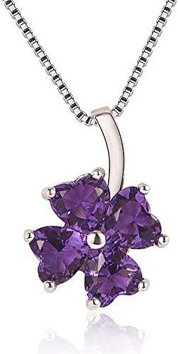 WEIKAI Collar para Mujer Moda Plata En Forma De Corazón Diamante Y Diamante Colgante De Trébol De Cuatro Hojas Rama De Flor Creativa Amatista Romántico Colgante De Temperamento De Cristal De Hielo