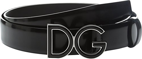 Dolce & Gabbana Men's Logo Buckle Belt Black (Gabbana Designer Belts)