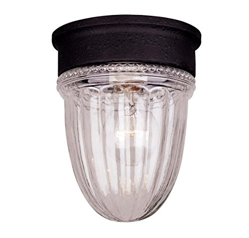 Savoy House Flush Mount Light (Savoy House KP-5-4901C-31 Outdoor Flush Mount with Clear Ribbed Shades, Textured Black Finish)