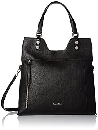Calvin Klein Alexis Faux Leather Reversible North/South Tote, Black/Grey