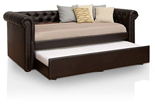 HOMES: Inside + Out IDF-1027BR Contemporary Daybed with Trundle, Twin, (Brown Trundle)