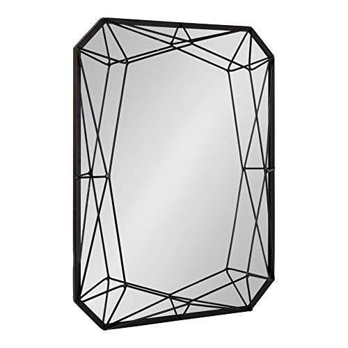 Kate and Laurel Keyleigh Modern Glam Geometric Shaped Metal Accent Wall Mirror, Black -