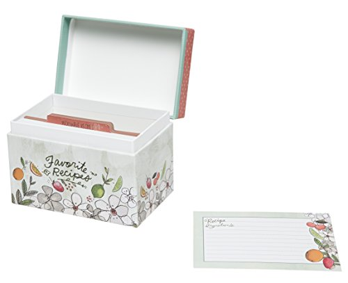C.R. Gibson Colorful Patterned Recipe File Box, Includes ...