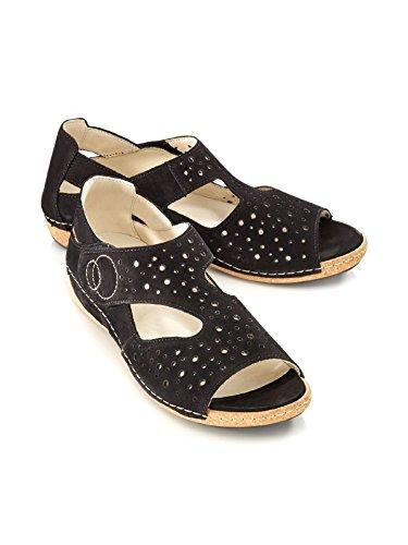 Avena Kvinder Waldläufer-sandal Sko Ibiza - Praktisk Velcro Sort khM7R8Wrjo