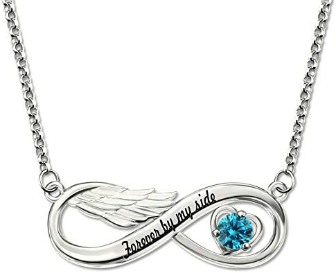 DXYAN Custom Letter Infinity Pendant Necklace Personalizable Name Angel Wings Necklace with Engraving Crystal Stone Necklaces Silver
