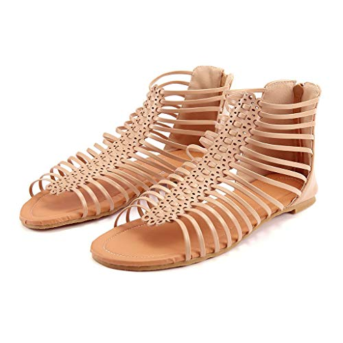 Aunimeifly Women's Open Toe Flat Sandals Back-Zipper Caged Stacked Casual Vegan Leather Cutout Shoe Brown