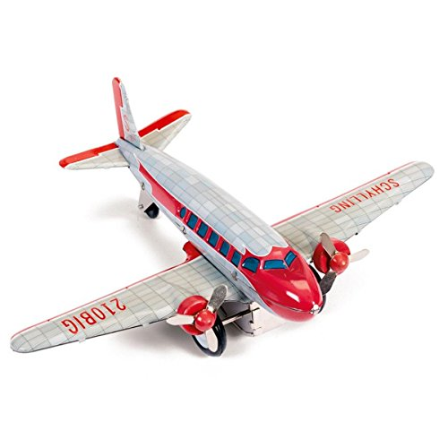 Dc 3 Tin Airplane - Kids Fun Play Dc-3 Airplane Tin Collectible Propellers Friction Motor Toy