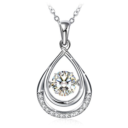 GUNDULA Christmas Jewelry Gifts Packing 925 Sterling Silver Teardrop Pendant Necklace for Women Water Drop Clear Cubic Zirconia Fashion
