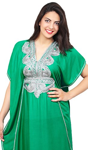 Moroccan Caftan Handmade Light Weight Cotton Silver Hand Embroidery Breathable Soft Green by Moroccan Caftans (Image #4)