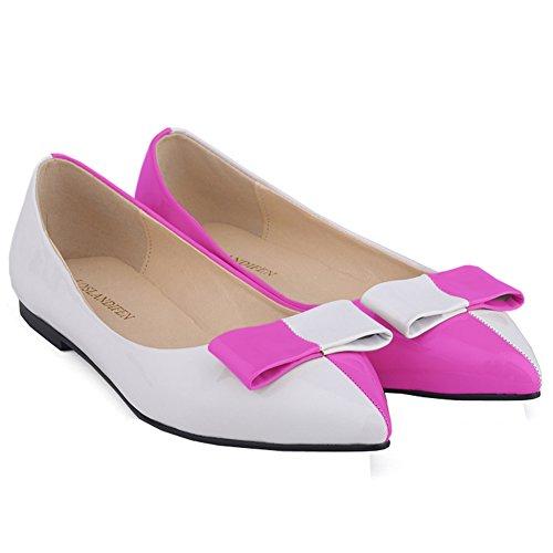 Loslandifen Womens Faux Leather Brevetto Colore Mix Balletto Piatto Viola