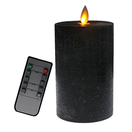 (Kitch Aroma Black Flameless Candles with Remote,Battery Operated with Moving Flame Wick Flickering LED Pillar Candle,Flat,Using for Holiday)