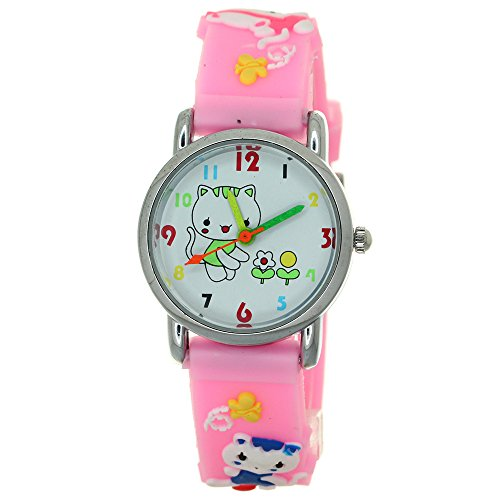 - Hello Kitty 3D Silicone Strap Round Case Japanese Quartz Kids Waterproof Clasp Rubber Band Arabic Numerial with Kitty Character Dial Children Toddler Wristwatches Time Teacher Boys Girls Watches