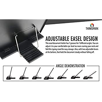Desktop Document Copyholder – Easel Document Holder Clipboard with Adjustable Clip and Line Guide with 7 Positions Easy Viewing to Holds A4 Documents Letter Legal Pads and Book 8 x 14 x 1 inch – Black