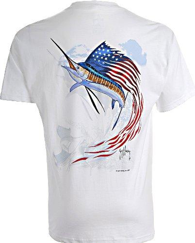 Guy Harvey Star Spangled Sailfish T-Shirt WHITE (Guy Harvey Star)