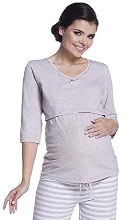 Zeta Ville - Womens Maternity Breastfeeding Robe Pyjamas Stripes Pattern - 394c (Beige, US 4/6, S)