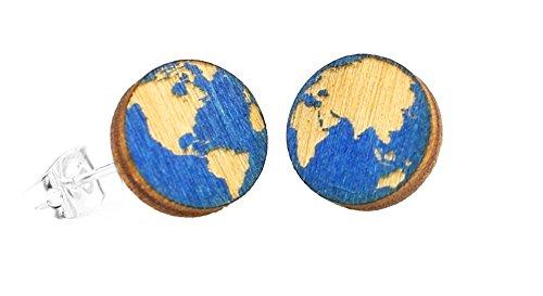 Green Tree Jewelry Globe Blue Earth Studs Wooden Lasercut Earrings #3004