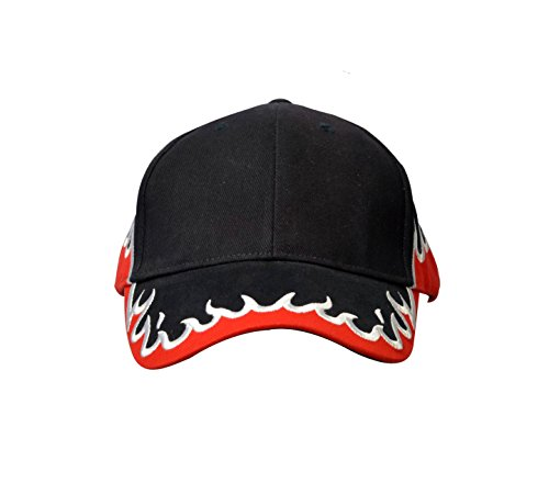 KC Caps® Cotton Racing Cap with Embroidered Fire - Visor Flame Hat