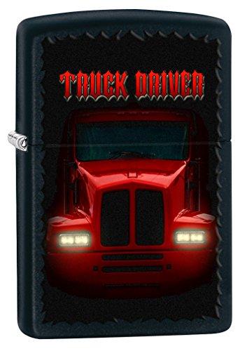 Zippo Custom Lighter: Truck Driver Headlights - Black Matte 78477