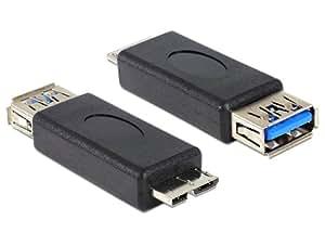 DeLOCK USB 3.0 Adapter USB 3.0-A FM micro USB 3.0-B M Negro adaptador de cable - Adaptador para cable (USB 3.0-A FM, micro USB 3.0-B M, Macho/hembra, Oro, Negro, 5 Gbit/s)