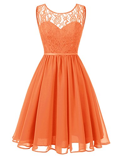 ALAGIRLS Womens Short Chiffon Bridesmaid Dresses See Through Lace Wedding Party Gowns Orange US26Plus