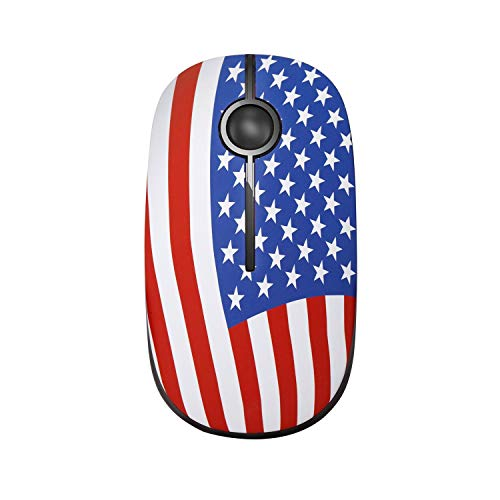 Jelly Comb 2.4G Slim Wireless Mouse with Nano Receiver, Less Noise, Portable Mobile Optical Mice for Notebook, PC, Laptop, Computer, MS001 (Flag)