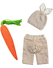 Newborn Baby Boys Girls Easter Photography Props Outfits Birthday Costume Handmade Crochet Knit Rabbit Beanie Pants Hat set