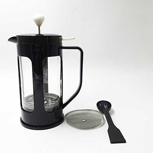 Ivykin Big Capacity Glass Coffee & Tea Maker 34 oz, 1L, 8 Cups French Press Insulated Frame in Black, Bonus Filter & Measuring Spoon