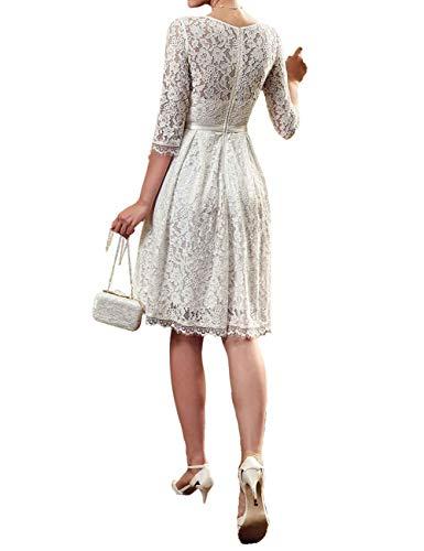 d9c476f812a longue Soirée Dentelle Col Pour Robe Invité Mi Mariage Manches Elégante 4  Femme Cérémonie 3 Blanc Vkstar® ...