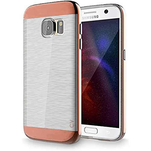 S7 Case, Galaxy S7 Case, Cellularvilla [Slim Fit] [Dual Layer] Metallic Finish Bumper Case [Shockproof] [Brushed Texture] Transparent Clear Back Sales