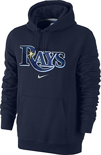 Nike Tampa Bay Rays Baseball MLB Wordmark Applique Logo Fleece Pullover Hoodie (Navy Blue, XL)