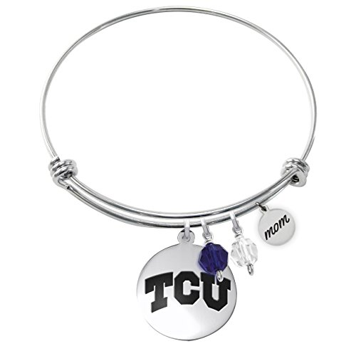 College Jewelry Texas Christian TCU Horned Frogs Adjustable MOM Bracelet with Round Charm (Tcu Horned Frogs Jewelry)