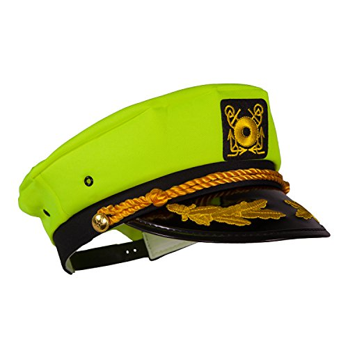 Captain Ford's Unisex Snapback Neon Captain Hat (Neon Yellow) - Perfect for Parties -