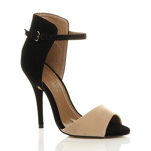 Size Sandals Tone Suede High Black Shoes Heel Women Ajvani Two Nude Suede ORTqX0