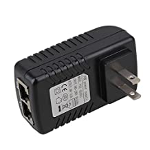 BQLZR DC 48V 0.5A PoE Injector Power Supply Over Ethernet Adapter With Green LED Power Indicator For Support 12V 24V 48V POE Device