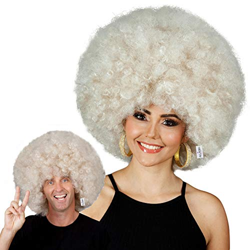 ALLAURA Deluxe 70s Unisex Jumbo Disco Afro Wig for Men and Women! Big Blonde Adult Costume Wigs]()