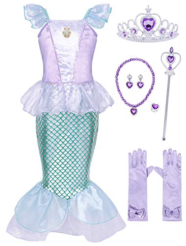 Beautiful Halloween Costumes For Kids (HenzWorld Little Girls Dresses Mermaid Costumes Ariel Princess Halloween Cosplay Jewelry Accessories Birthday Party Outfit Ruffle Tails 7-8)