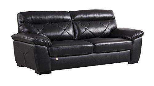 American Eagle Furniture EK081-BK-SF Amador Mid-Century Modern Italian Leather Living Room Sofa, 83