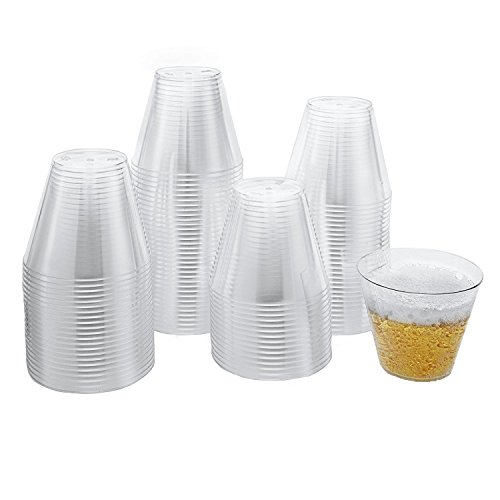 Xplosions 9 oz Clear Hard Plastic Party Cups, Disposable Plastic Tumblers [100 Pack]