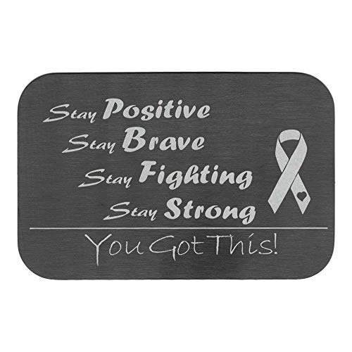 (Stay Positive Brave Fighting Strong Breast Cancer Awareness Personalized Photo Engraved Metal Wallet Mini Insert Card note handmade)