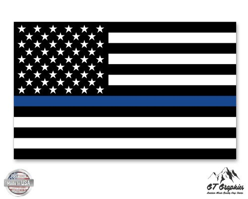GT Graphics Support Police American Flag Thin Blue Line - 20